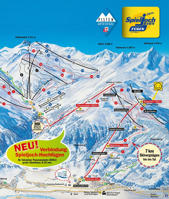 Plattegrond van skigebied Fugen