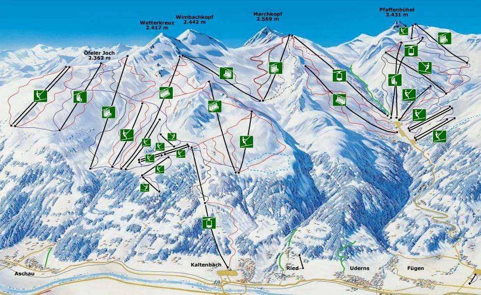 Pisteplan plattegrond van Skioptimal, skigebied hochfugen en skigebied Kaltenbach.